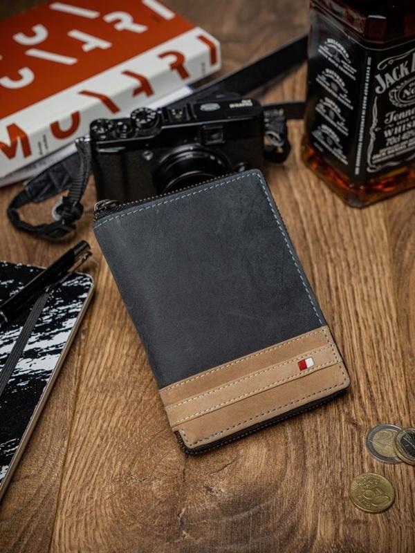 Мужской кошелек кожаный черный 2043