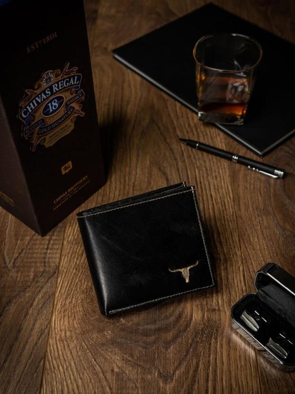 Мужской кошелек кожаный черный 462