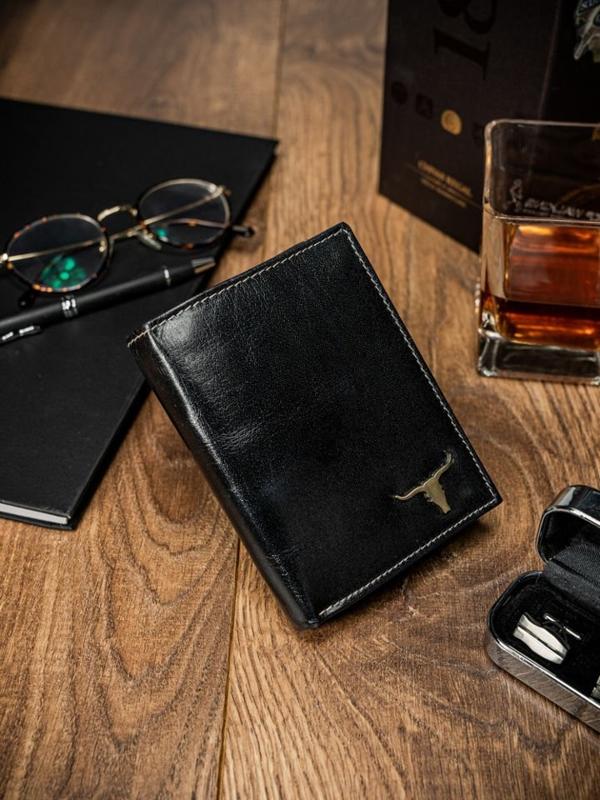 Мужской кошелек кожаный черный 60