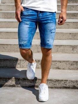 Темно-синие мужские джинсовые шорты Bolf 3005