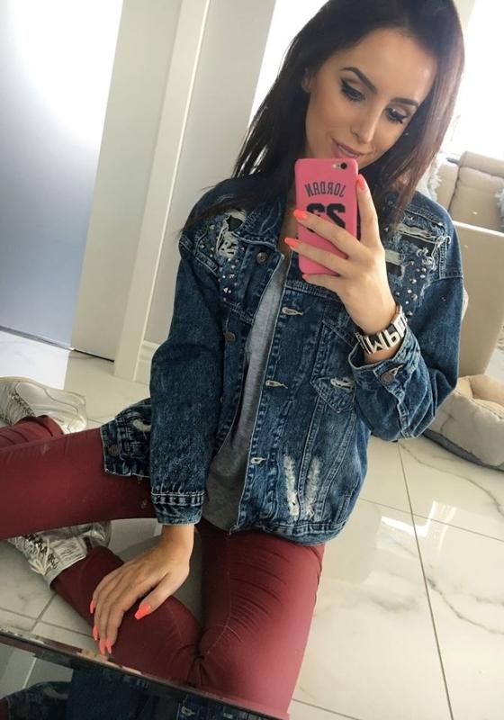 Темно-синяя женская джинсовая куртка Bolf 5198