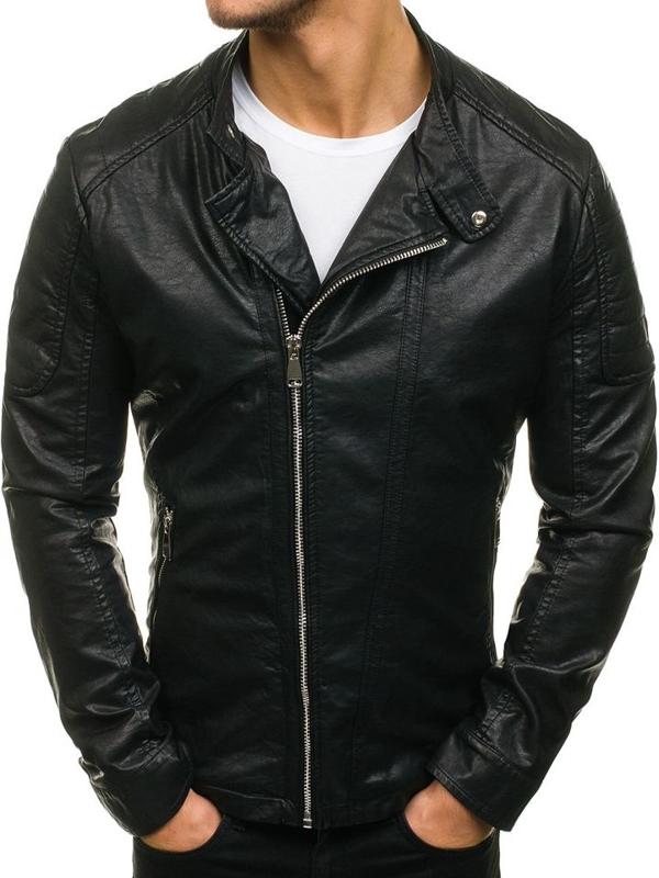 Черная мужская кожаная куртка Bolf D003