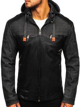 Черная мужская куртка кожаная Bolf EX361
