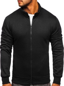 Черная мужская толстовка без капюшона Bolf B2002