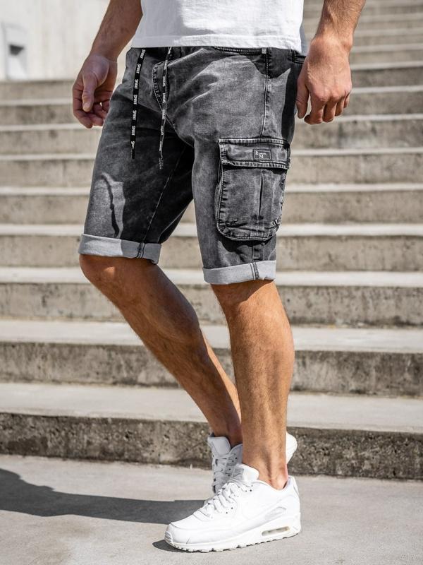 Черные мужские джинсовые шорты карго Bolf KR1206