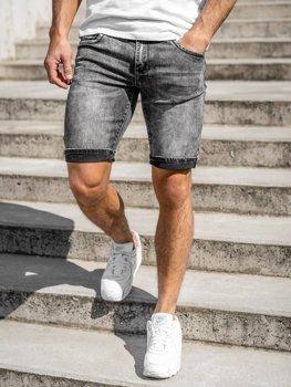 Черные мужские джинсовые шорты Bolf KG3806