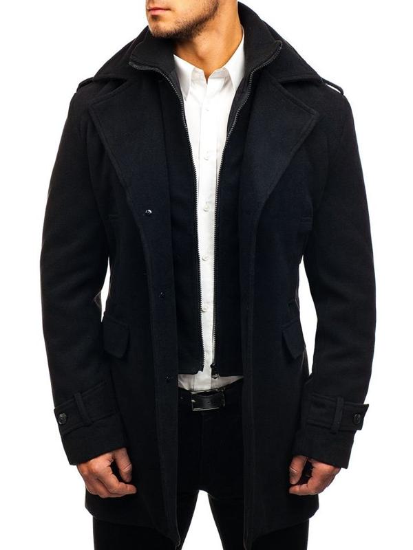 Чоловіче зимове пальто чорне Bolf 1808-A