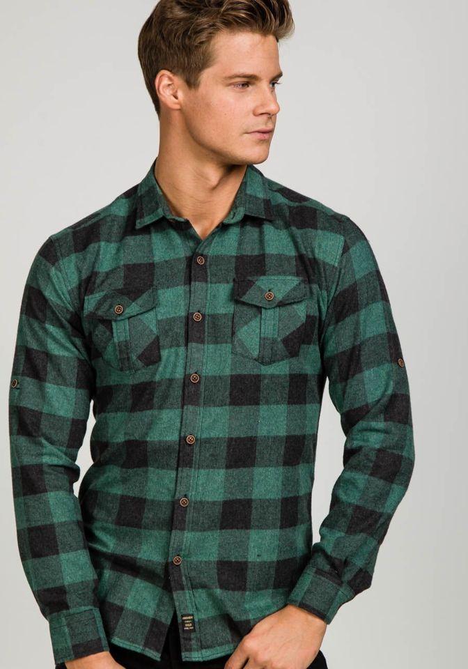 a934d36917d Зеленая мужская фланелевая рубашка с длинным рукавом Bolf 1770 ЗЕЛЕНЫЙ