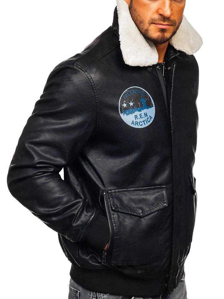 b093b79a9de Мужская кожаная куртка пилот черная Bolf 4794