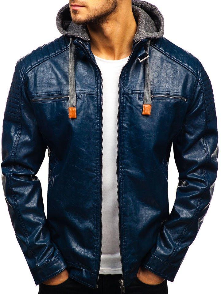 aaa9a202b7e Мужская кожаная куртка темно-синяя Bolf ex703