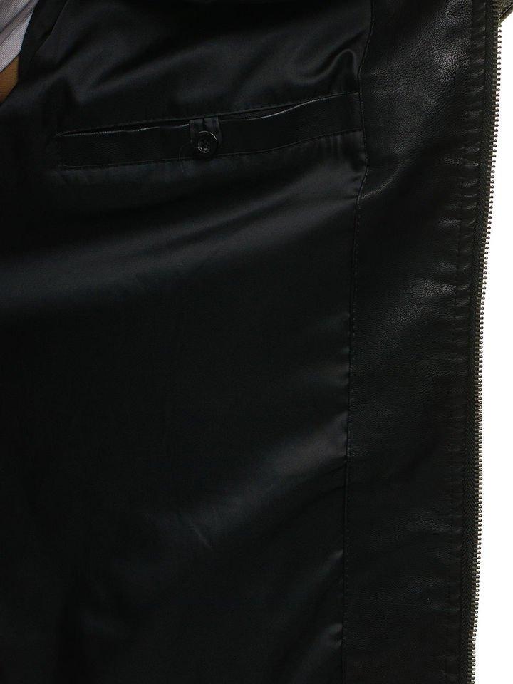 1c47ef17f99 Мужская кожаная куртка черная Bolf 5009