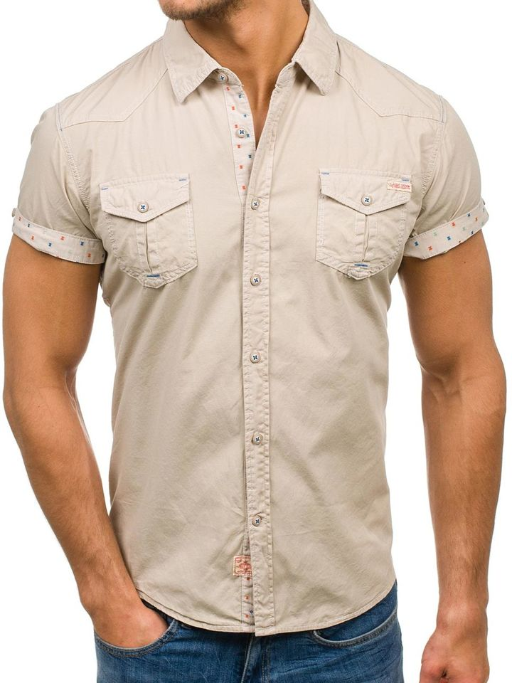 2398a2403 Мужская рубашка с коротким рукавом бежевая Bolf 3276 БЕЖЕВЫЙ