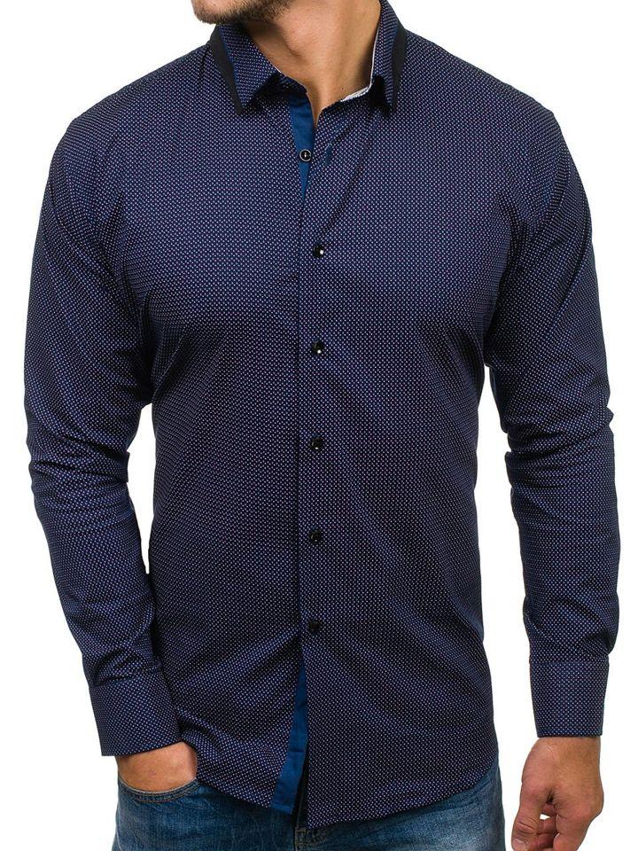 7e77c4561cbf924 Мужская рубашка с узором с длинным рукавом темно-синяя Bolf TS102 ...