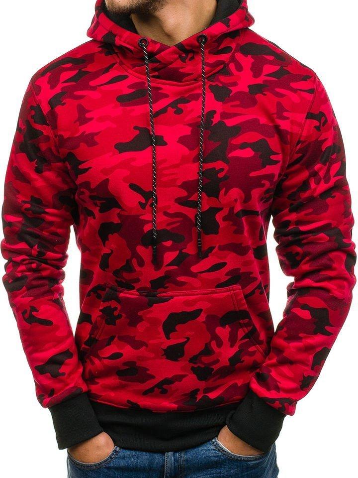 Мужская толстовка с капюшоном камуфляж-красная Bolf DD129-1 КРАСНЫЙ d4306733770