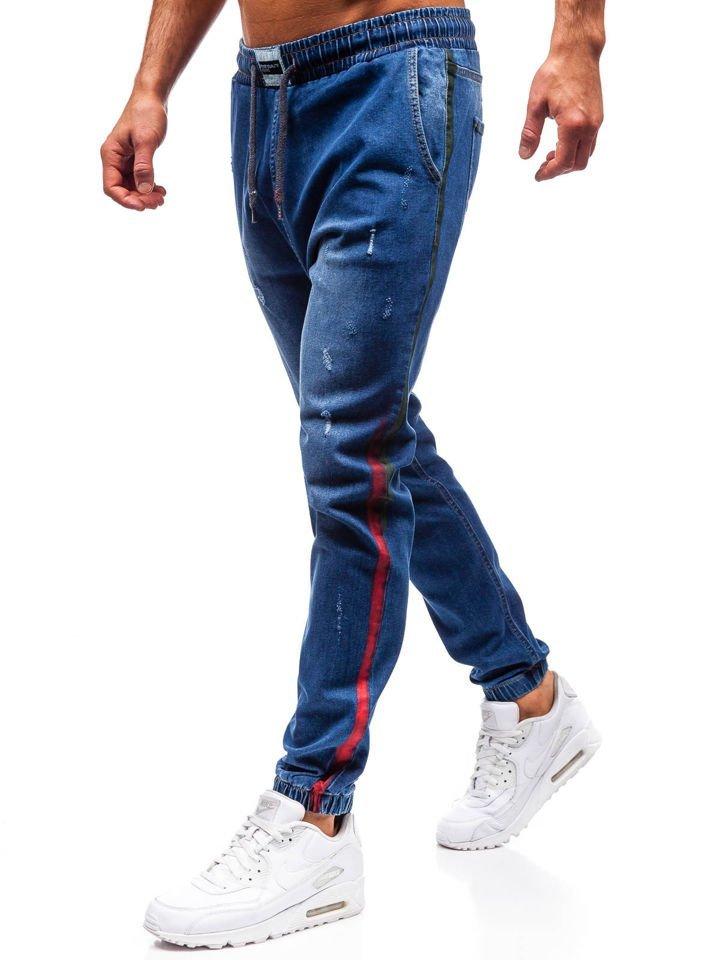 efb5a2ac Мужские джинсовые брюки джоггеры темно-синие Bolf2053 ТЕМНО-СИНИЙ