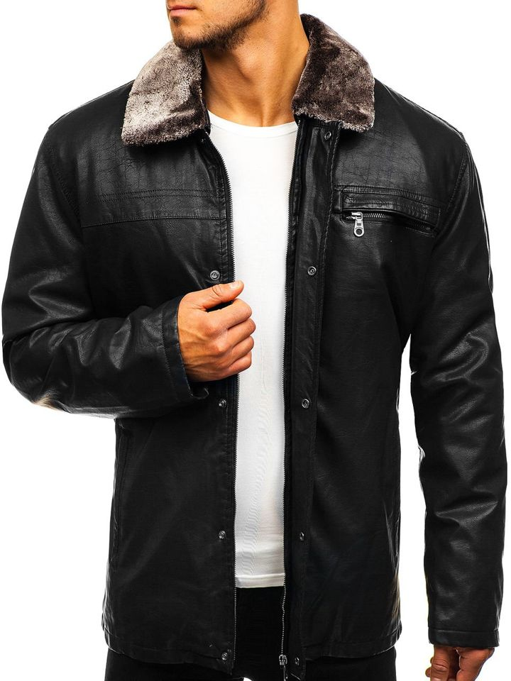 64b24d36789 Черная мужская кожаная куртка Bolf 293
