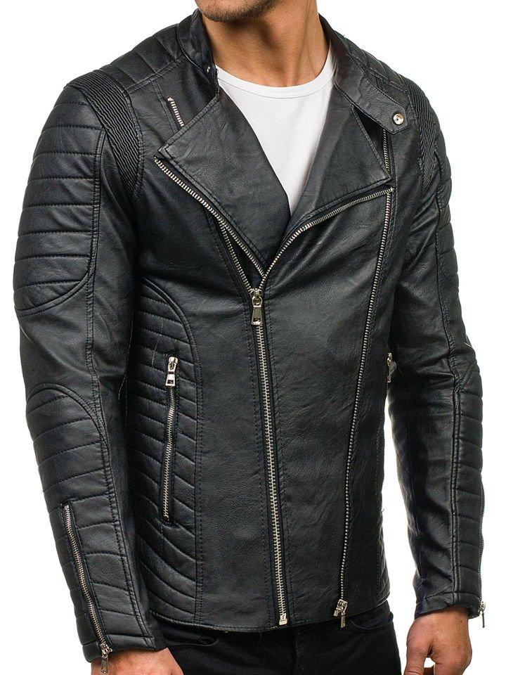 aceb2f2dacd Черная мужская кожаная куртка Bolf 9129