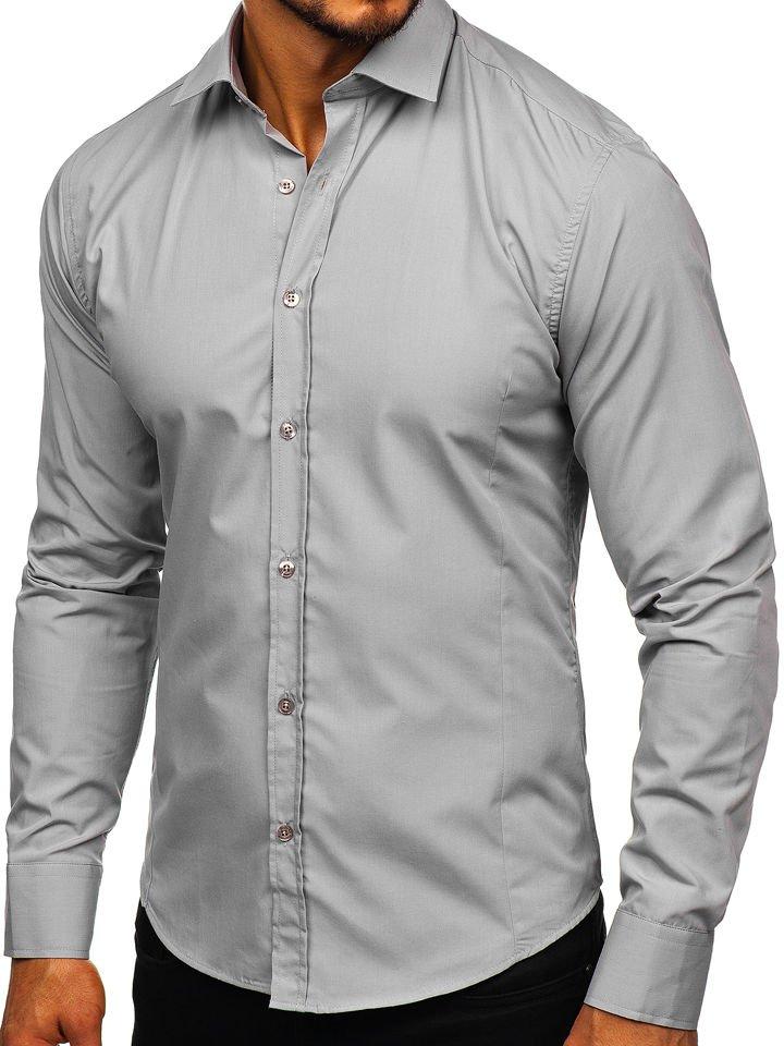 a5996350109 Мужская элегантная рубашка с длинным рукавом серая Bolf 1703 SZARY