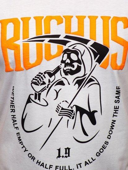 Белая мужская футболка с принтом Bolf KS2633