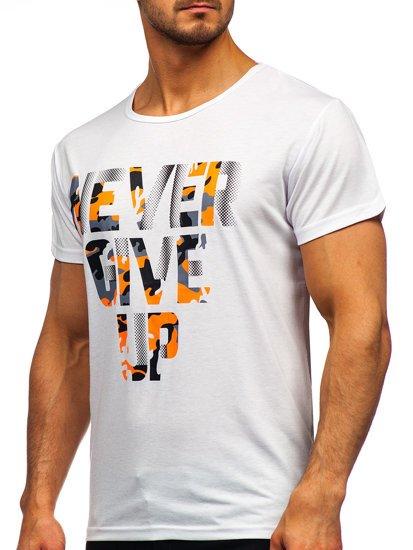 Белая мужская футболка с принтом Bolf KS2650