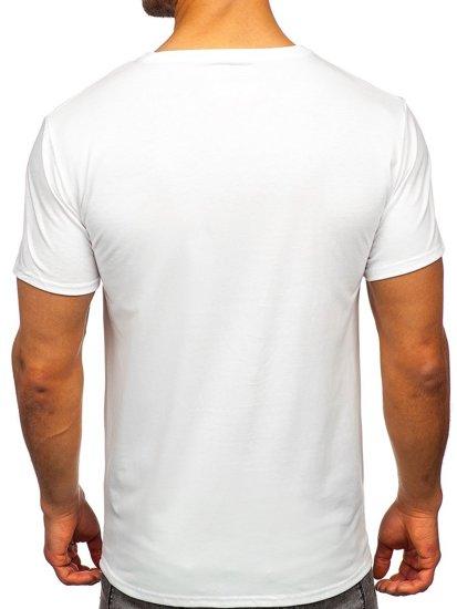 Белая мужская футболка с принтом Bolf Y70012