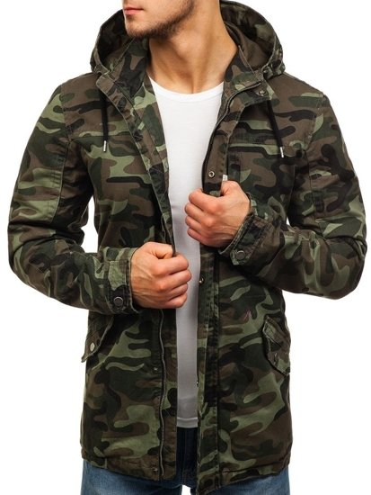 Мужская демисезонная куртка парка камуфляж-хаки Bolf 5104