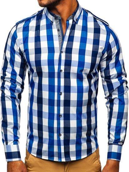 Мужская рубашка в клетку с длинным рукавом темно-синяя Bolf 2779