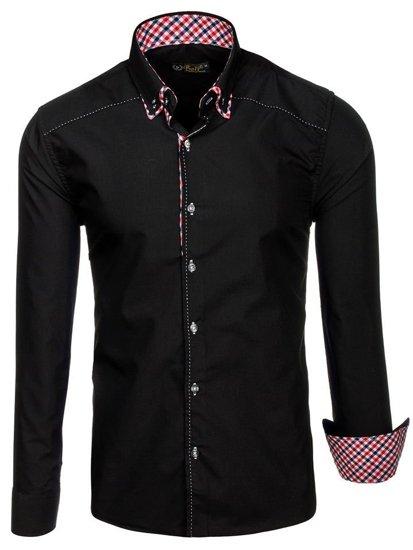 Мужская рубашка с длинным рукавом черная Bolf 3707
