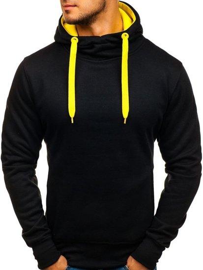 Мужская толстовка с капюшоном черно-желтая Bolf 2072