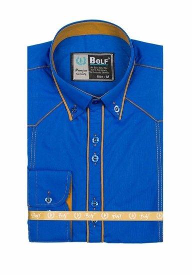 Мужская элегантная  рубашка с длинным рукавом васильковая Bolf 4777