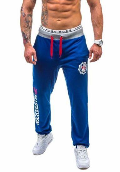 Мужские трикотажные брюки васильковые Bolf 1044