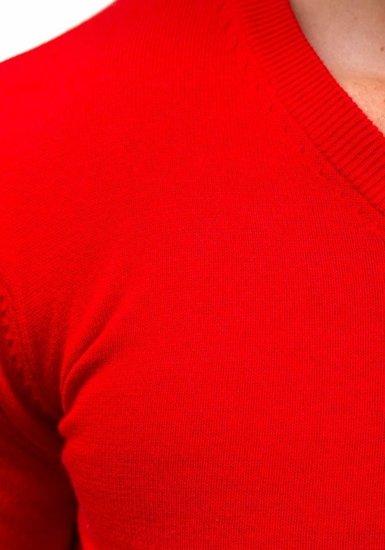 Мужской свитер с v-образным вырезом красный Bolf 1813