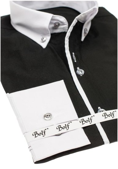 Рубашка мужская элегантная с длинным рукавом черная Bolf 5726