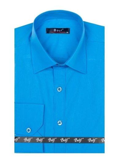 Рубашка мужская BOLF 1703 бирюзовая