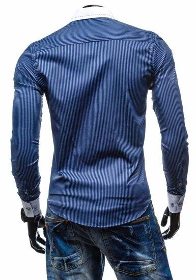 Рубашка мужская BOLF 4784-1 темно-синяя