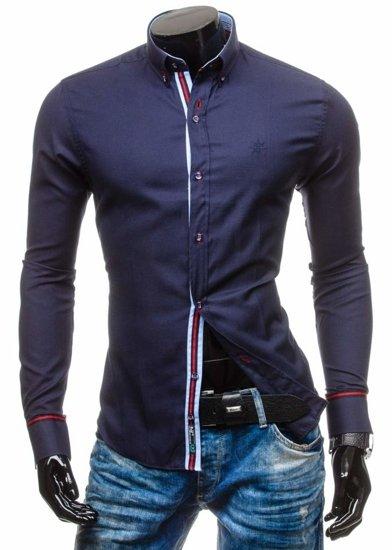 Рубашка мужская BOLF 5801 темно-синяя