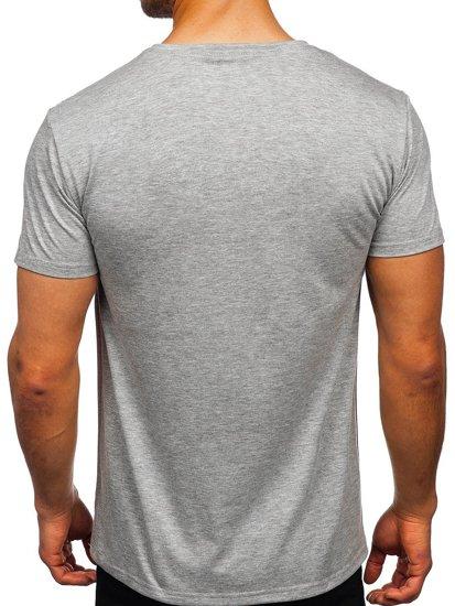 Серая мужская футболка с принтом Bolf Y70031