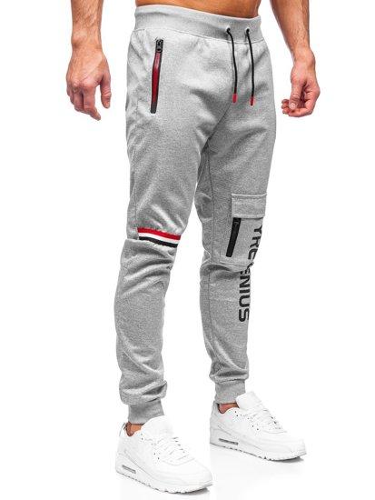 Серые мужские спортивные брюки карго Bolf K10277