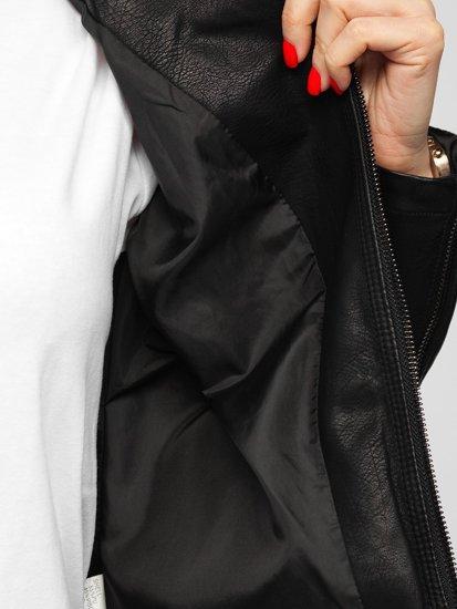 Черная женская кожаная куртка Bolf 20R8