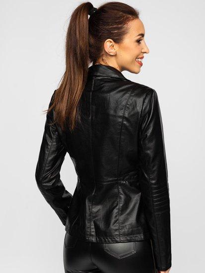 Черная женская кожаная куртка Bolf 621