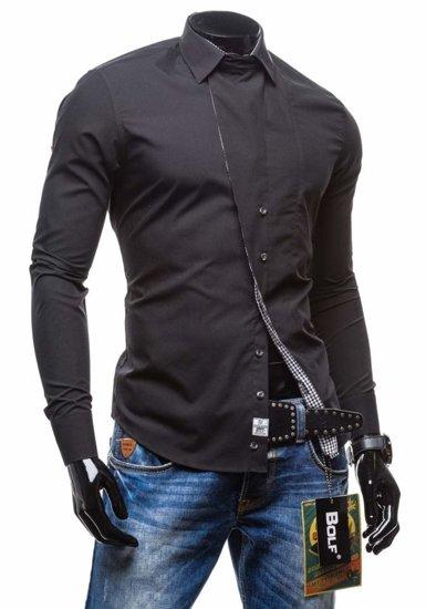 Черная мужская рубашка с длинным рукавом Bolf 5746