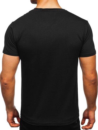 Черная мужская футболка с принтом Bolf Y70019