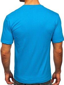 Бирюзовая мужская футболка с принтом Bolf 14424