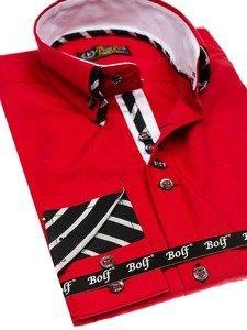 Мужская рубашка с длинным рукавом красная Bolf 3762