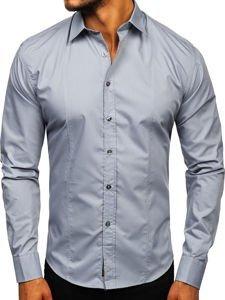 Мужская элегантная рубашка с длинным рукавом серая Bolf 4705G