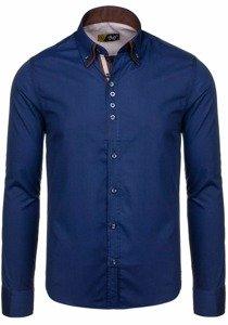 Рубашка мужская BOLF 4706 темно-синяя