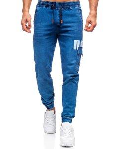 Темно-синие джинсы джоггеры-карго мужские Bolf HY891