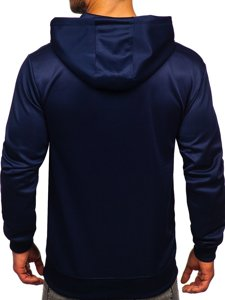 Темно-синяя мужская толстовка с капюшоном и принтом Bolf B10113
