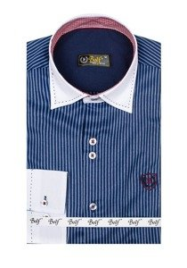 Темно-синяя мужская элегантная рубашка в полоску с длинным рукавом Bolf 4784
