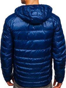 Темно-синяя стеганая мужская демисезонная спортивная куртка Bolf 2066